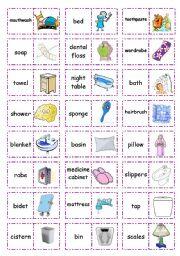 Let´s play dominoes! Set 7 - In the bedroom/bathroom