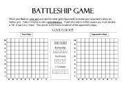 English Worksheet: Battleship Game