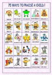 English Worksheets: 75 WAYS TO PRAISE A CHILD 2/3