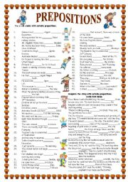 English Worksheets: PREPOSITIONS (with key)