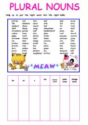 English Worksheets: plural nouns