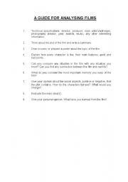 English Worksheets: A GUIDE TO ANALYSING A FILM