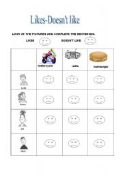 English Worksheets: likes-doesn�t like