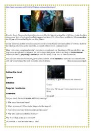 English Worksheet: Avatar has sailed past Titanic and has inspired Harry Potter