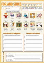 English Worksheets: For and Since  (With B/W)