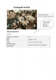 English Worksheet: Earthquake in Haiti