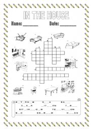 English Worksheet: In the house crossword