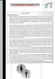 English Worksheet: LANGUAGE AND SEX � READING , LISTENING AND VOCABULARY ACTIVITY FOR ADVANCE STUDENTS BOTH INFORMATIVE AND POPULAR TOPIC