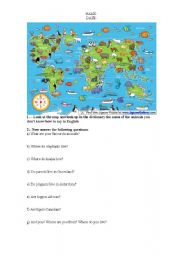 English Worksheet: countries and nationalities/animals