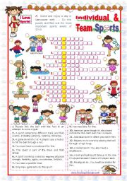 English Worksheet: Sports Set  (4)  - Individual and Team Sports Crossword puzzle