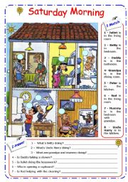 English Worksheets: HOUSE + PRESENT CONTINUOUS � B&W version included - EDITABLE