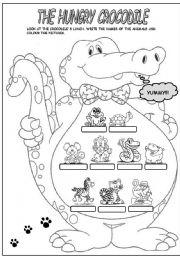 English Worksheet: THE HUNGRY CROCODILE