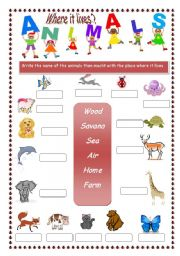 English Worksheets: Where it lives?