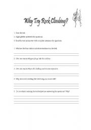 English Worksheets: Why rock climbing? - questions to the text