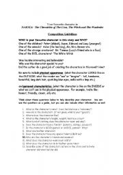 English worksheet: Chronicles of Narnia Character Review