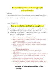 English Worksheets: oral presentation on the impact of music