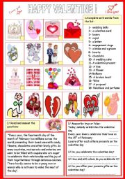 English Worksheet: HAPPY VALENTINE