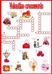English Worksheet: valentine crosswords
