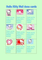 English Worksheet: Hello Kitty Well done cards