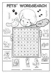 English Worksheets: PETS� WORDSEARCH