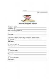 Printables Independent Reading Worksheets english teaching worksheets other reading response journal level 2