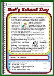 English Worksheets: ROB�S SCHOOL DAY