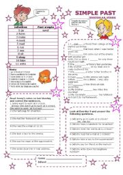 English worksheet: simple past irregular verbs part 2