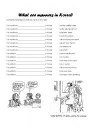 English Worksheet: Manners in Korea