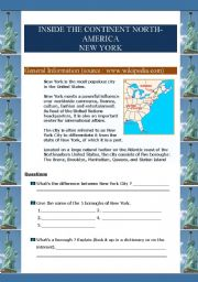 English Worksheet: Inside the continent North-America -  New York City (6 pages)