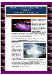 English Worksheet: Inside the continent North-America- Niagara falls (3 pages)