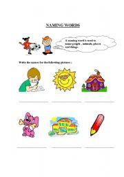 English Worksheets: Naming Words