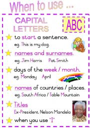 English Worksheets: When to use Capital Letters. Fully Editable Poster