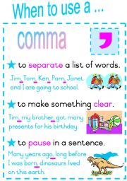 English Worksheets: When to use a comma.  Fully Editable Poster