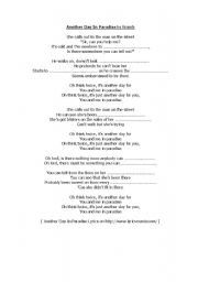 English Worksheet: song: another day in paradise