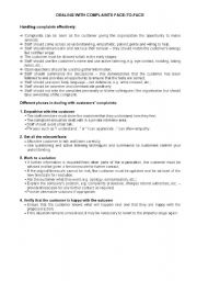 English Worksheet: Business English: Dealing with complaints face-to-face