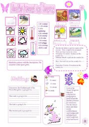 English Worksheet: Weather forecast and Seasons