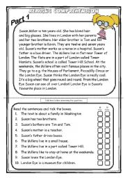 English Worksheets: Susan Miller - Reading Comprehension part 1/3 (2 WS+key)