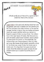 English Worksheets: Susan Miller - Reading Comprehension part 3/3 (3 WS+key)