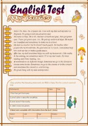 English Worksheet: English Test(3 parts): Reading Comprehension:My Father/Grammar+Vocabulary/Writing(+Key)