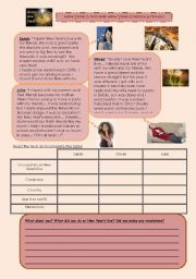 English Worksheet: New Year�s Eve and New Year�s Resolutions