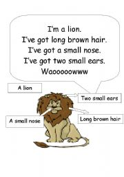 English Worksheets: a lion