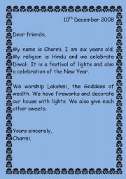 English Worksheets: Different festivals/religions/customs (in the form of letters)