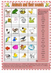 English Worksheets: animals and their sounds (editable)