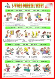 English Worksheet: Second series of 3-Word Phrasal Verbs. Exercises (Part 2/3). Key included!!!