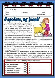 English Worksheets: NAPOLEON, MY FRIEND ( 2 PAGES )