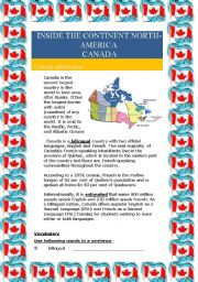English Worksheet: Inside the continent North-America - Canada (4 pages)