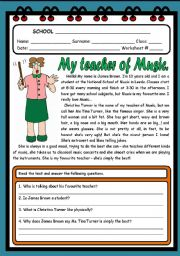 English Worksheets: MY TEACHER OF MUSIC ( 2 PAGES )