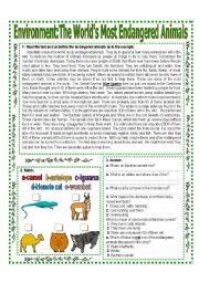English Worksheets: ENVIRONMENT (1/3) The World�s Most Endangered Animals Reading + Activities   Answer Key -  Elementary