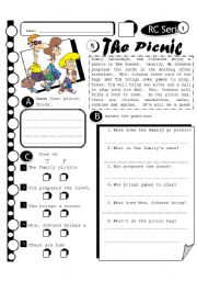 English Worksheet: RC Series 05 The Picnic-Level 1 (Fully Editable + Answer Key)