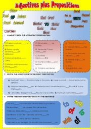 English Worksheet: Adjectives plus prepositions I - OF, TO, WITH